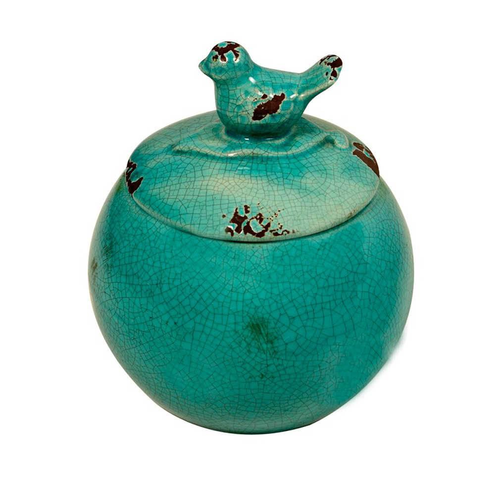 Pote Decorativo Azul Craquelado com Pássaro na Tampa em Cerâmica - Médio - 22x17 cm