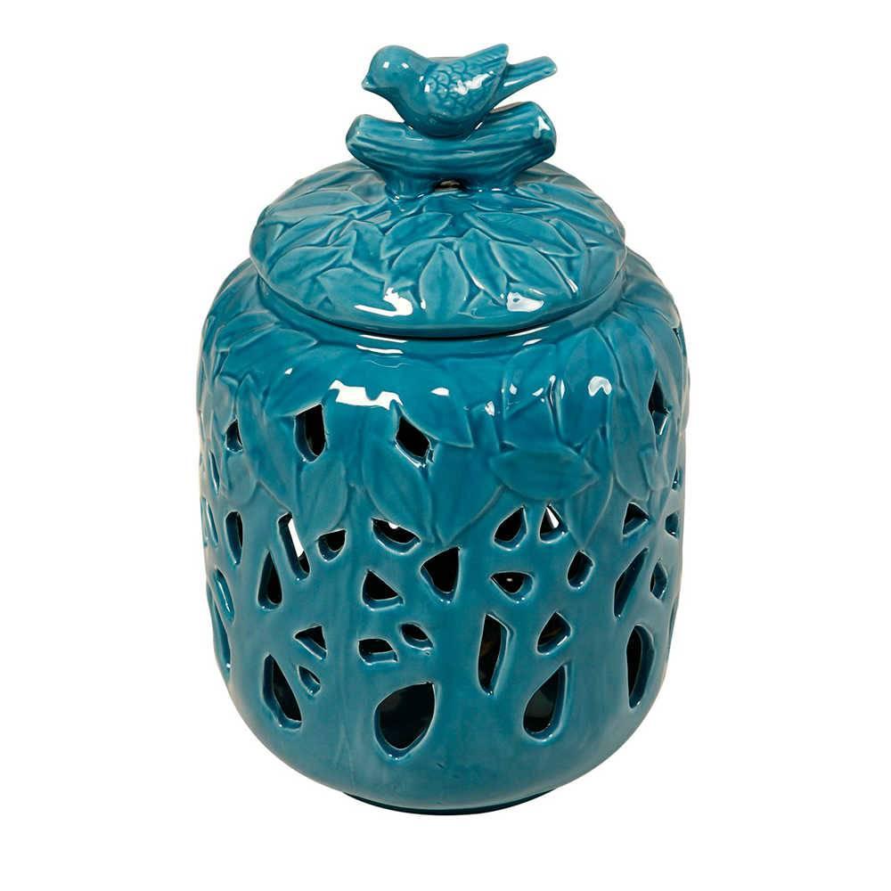 Pote Decorativo Bird Azul em Porcelana Vazada e com Relevo - 30x19 cm