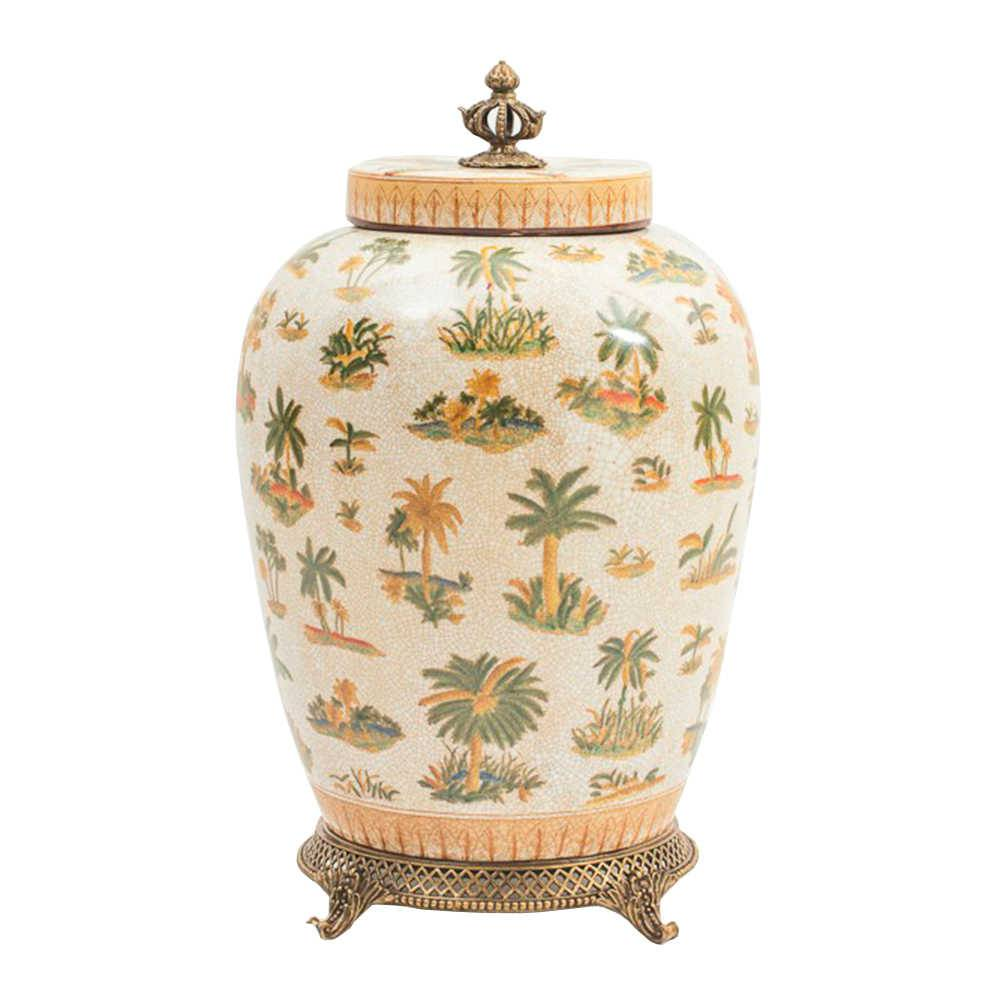 Pote Decorativo Le Palmier em Porcelana - 43x26 cm