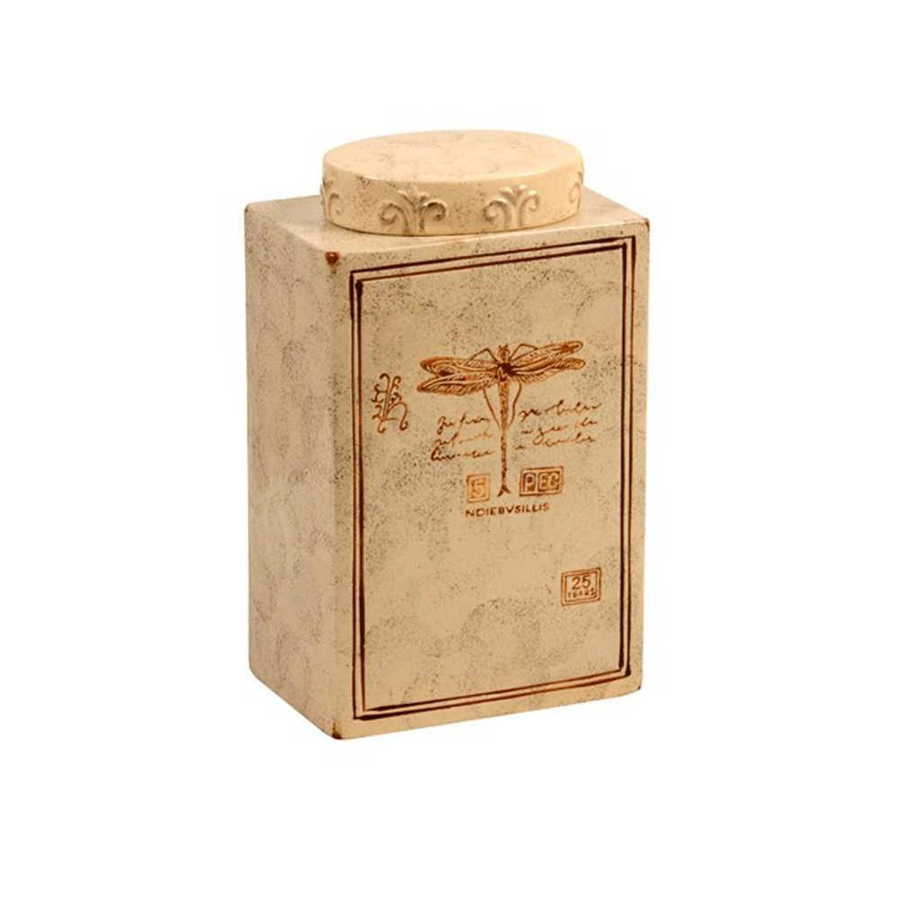 Pote Decorativo Libélula Bege Envelhecido em Cerâmica - Grande - 31x19 cm