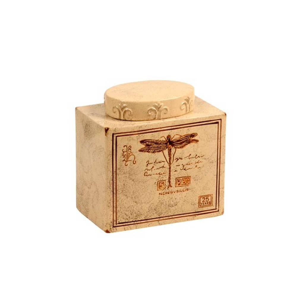 Pote Decorativo Libélula Bege Envelhecido em Cerâmica - Médio - 21x20 cm
