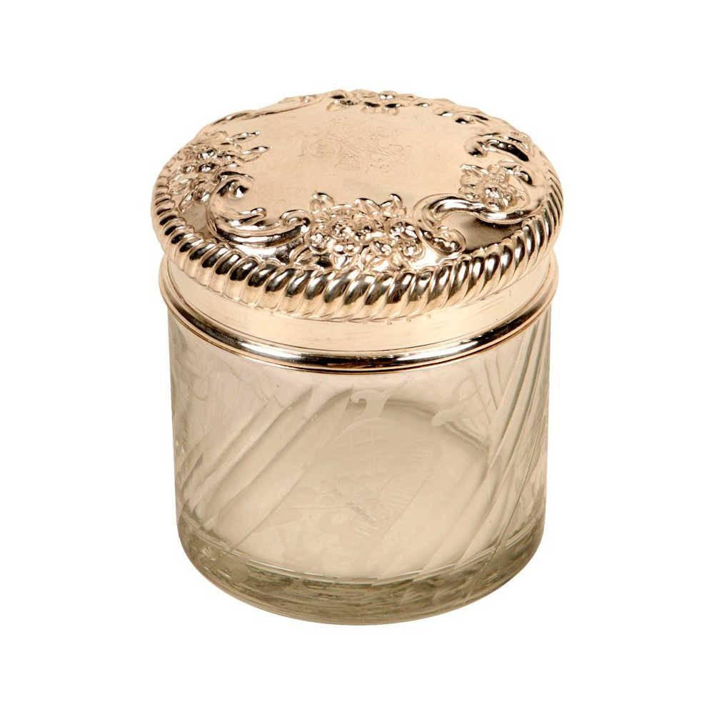 Pote Decorativo Sechura em Vidro Transparente com Tampa em Metal - 10x10 cm