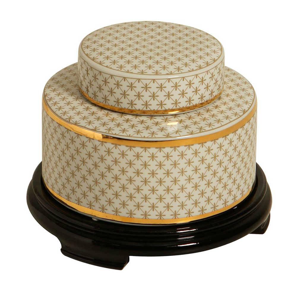 Pote Decorativo Sophy Branco e Dourado em Porcelana com Base em Madeira - 26x20 cm