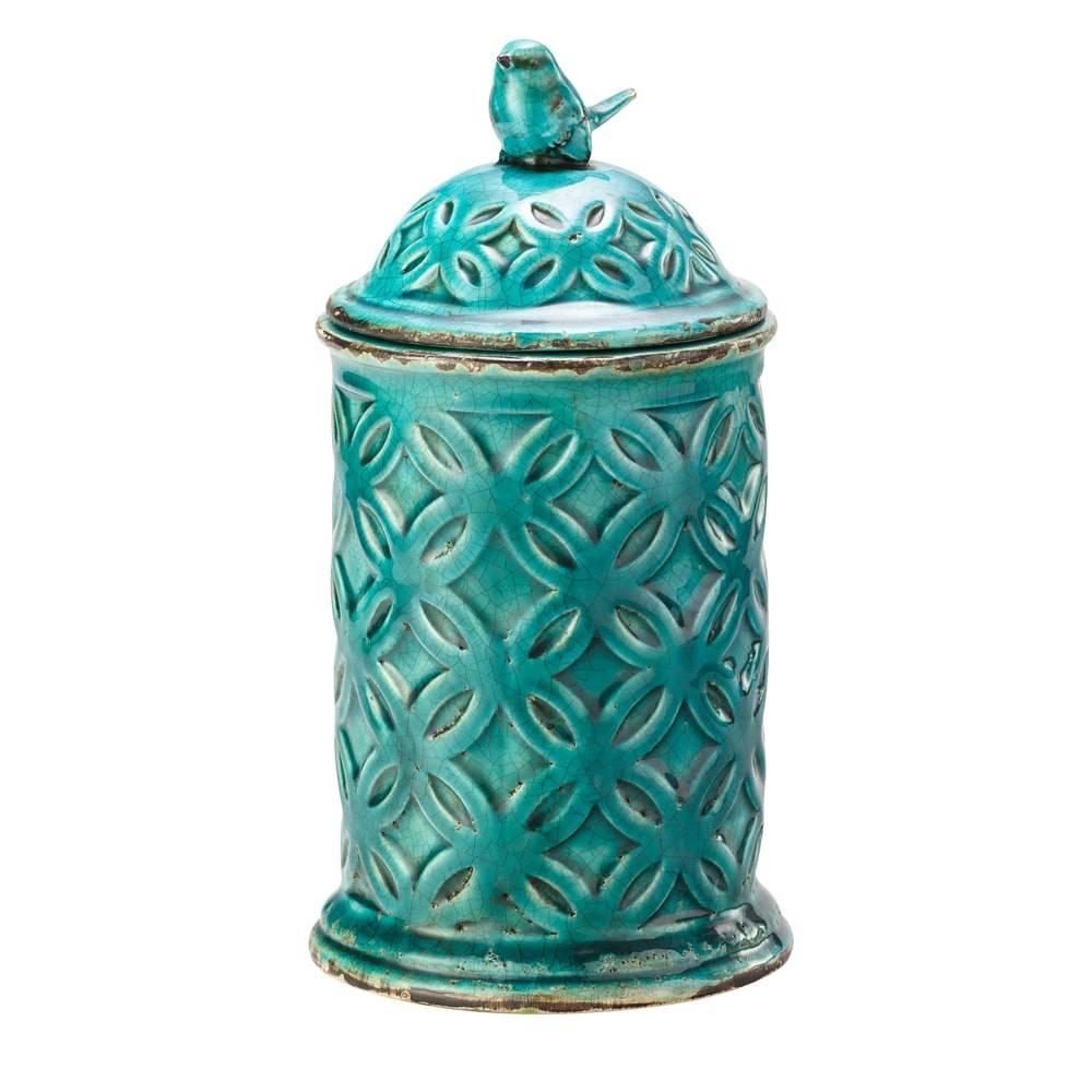 Pote Decorativo Vintage Azul em Cerâmica - Lyor Classic - 30,9x16,2 cm
