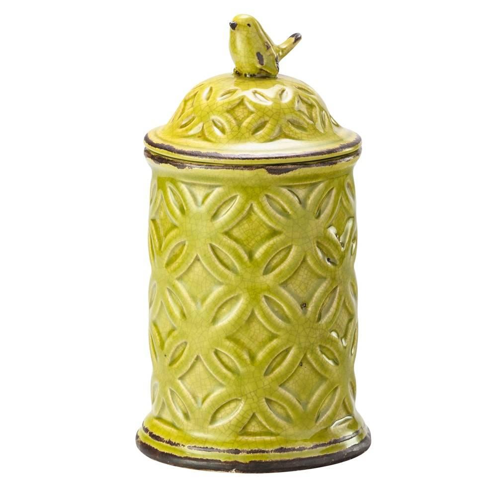 Pote Decorativo Vintage Verde em Cerâmica - Lyor Classic - 24,8x13,5 cm
