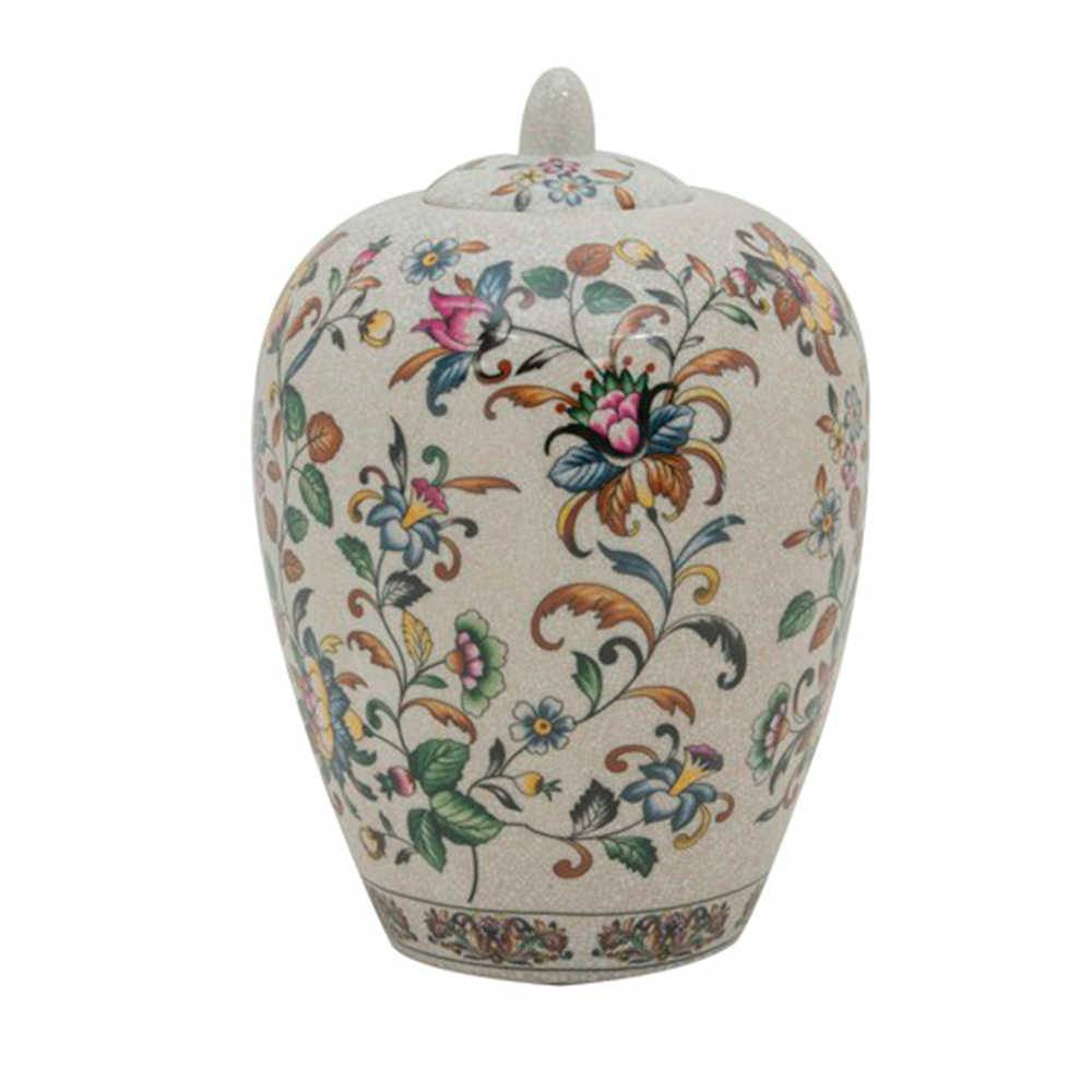 Pote Floral Vintage Pintado a Mão com Fundo Bege Grande em Porcelana - 29x19 cm