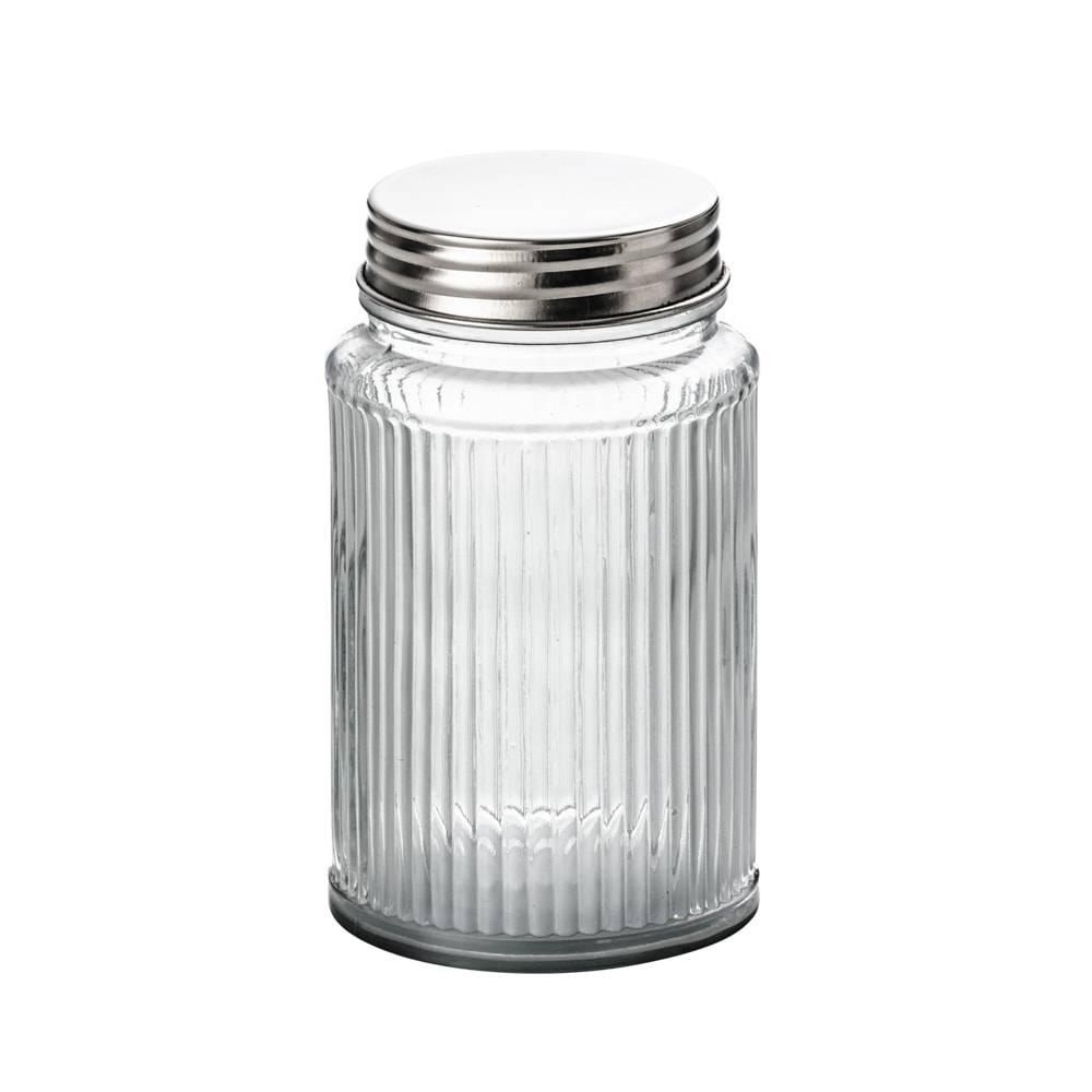 Pote Frisê em Vidro com Tampa em Alumínio - 1,6 Litros - Lyor Classic - 17x10,5 cm