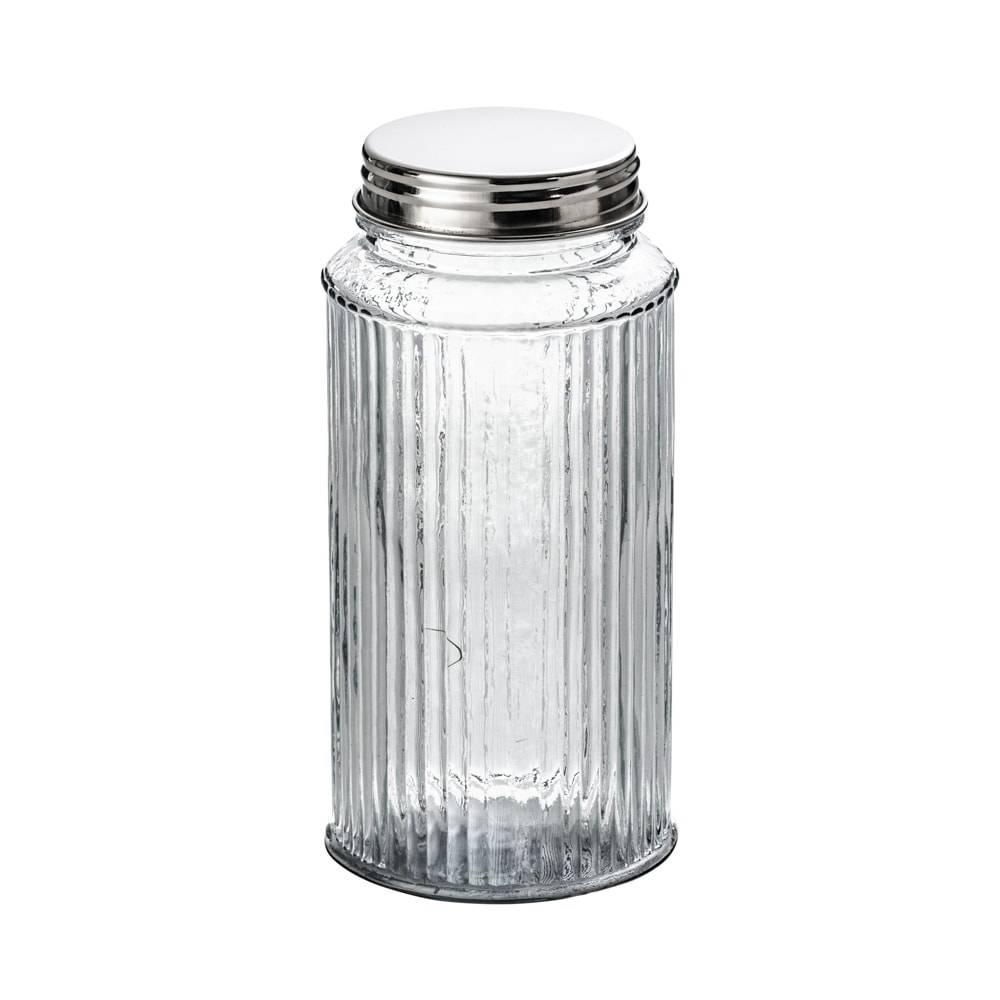 Pote Frisê em Vidro com Tampa em Alumínio - 1,9 Litros - Lyor Classic - 20x10,5 cm