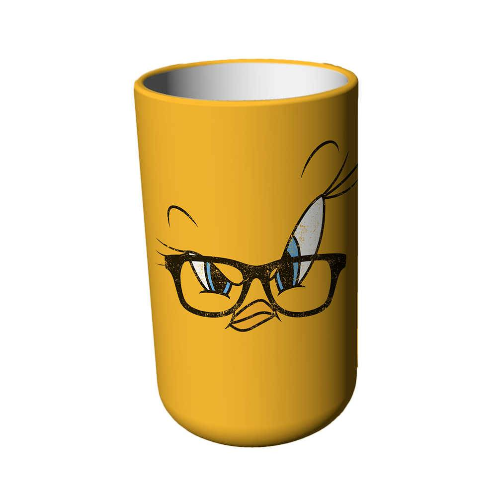 Pote Looney Tunes Tweety Big Face Amarelo em Cerâmica - Sem Tampa - Urban - 17x10 cm