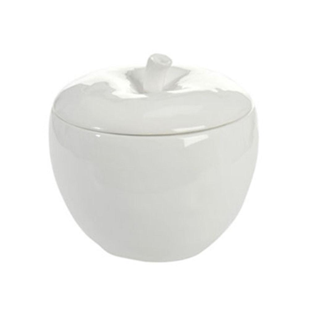 Pote Maça Branca com Tampa em Cerâmica - 21x20 cm