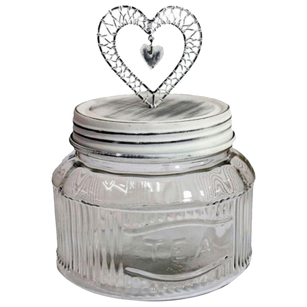 Pote Mimo Coração com Pingente Estrutura em Vidro Tampa em Ferro - 22x17 cm