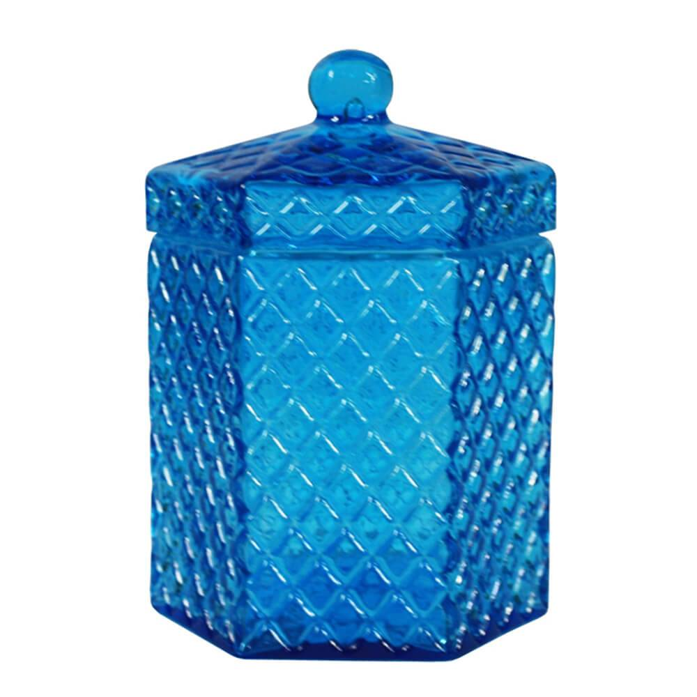 Pote Multiuso Hexa Sides Grande Azul em Vidro - Urban - 18,5x11 cm