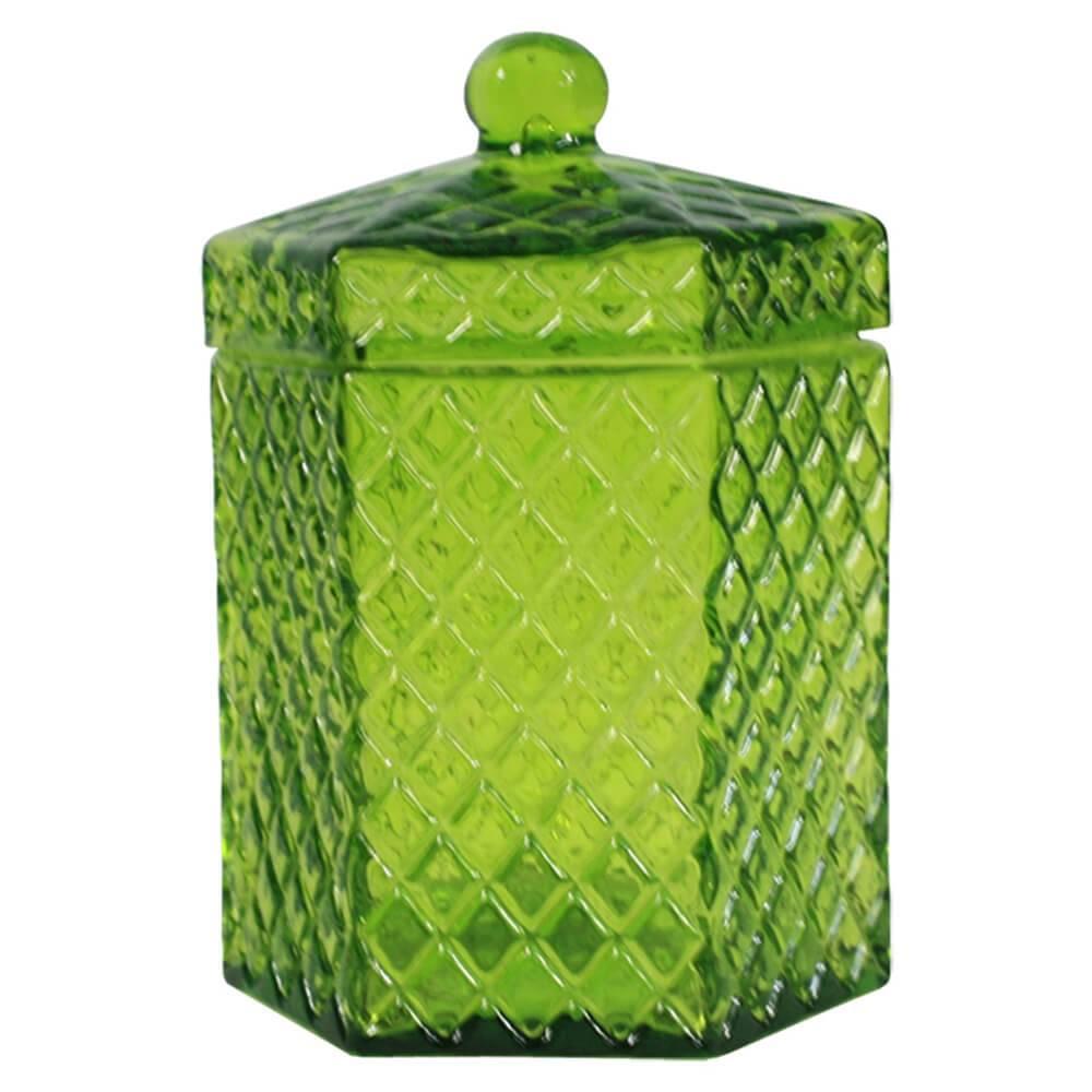 Pote Multiuso Hexa Sides Grande Verde em Vidro - Urban - 18,5x11 cm