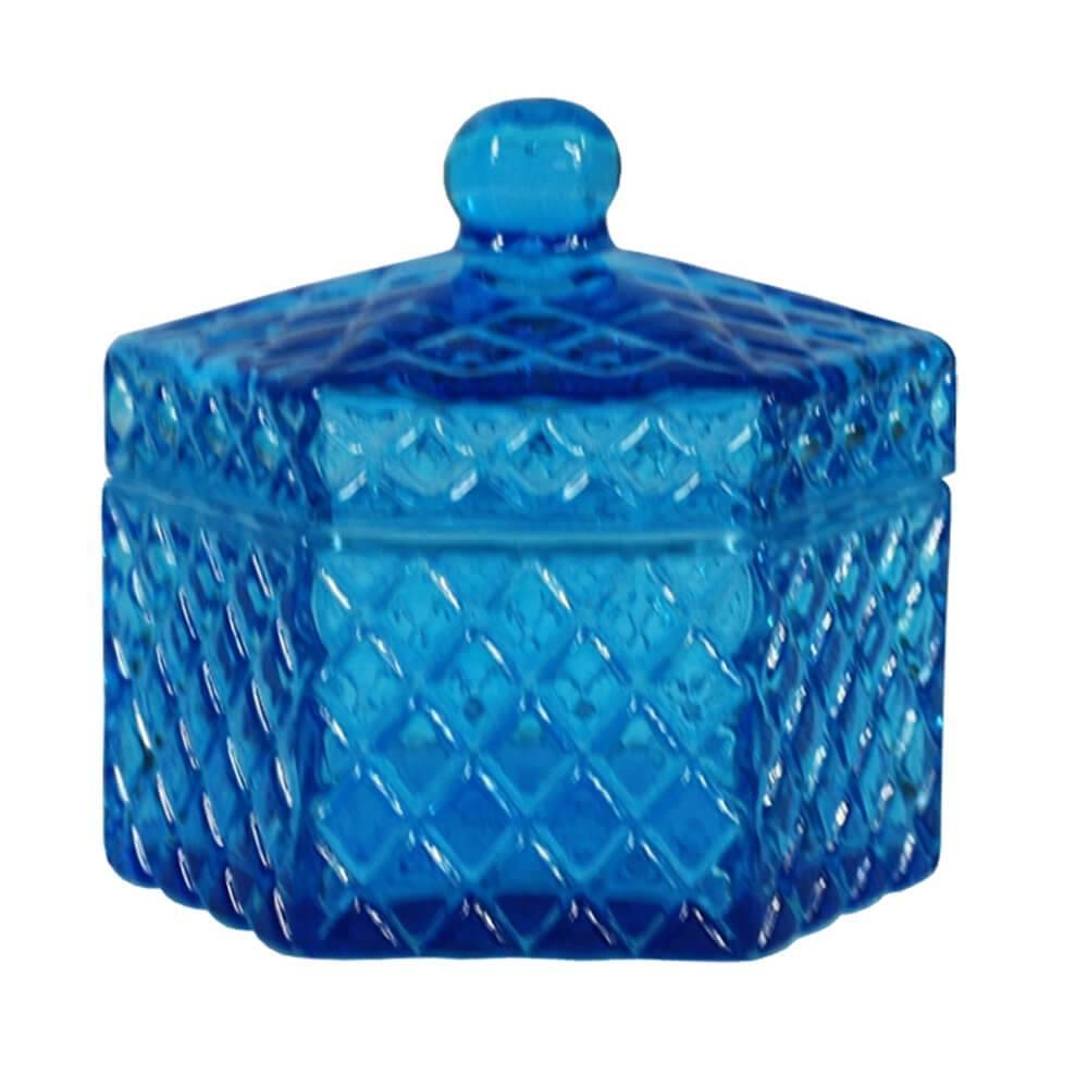 Pote Multiuso Hexa Sides Pequeno Azul em Vidro - Urban - 13x11 cm
