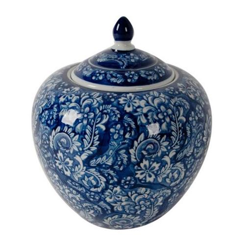 Pote Oriental Azul em Cerâmica - 24,8x20,8 cm