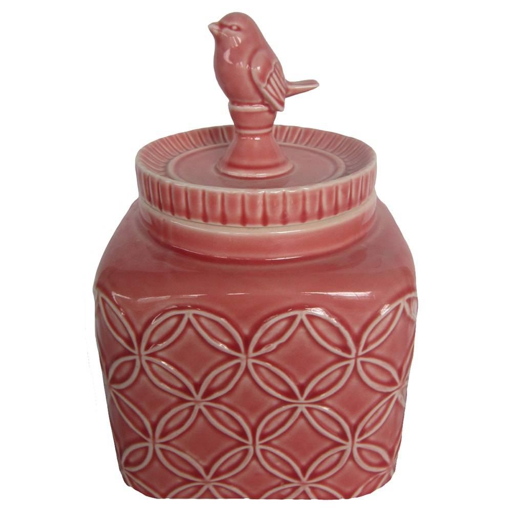 Pote Pássaro Marsala Médio em Cerâmica - 17x16 cm