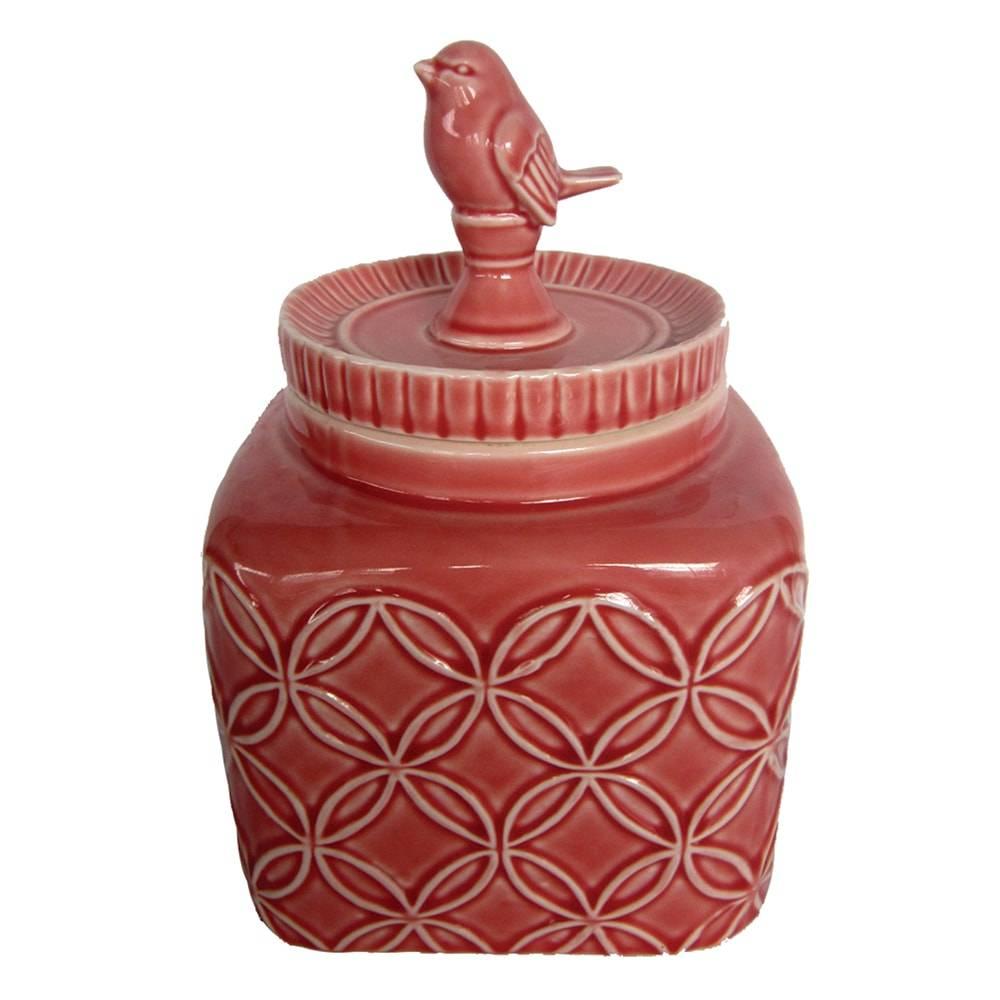 Pote Pássaro Marsala Pequeno em Cerâmica - 13x11 cm