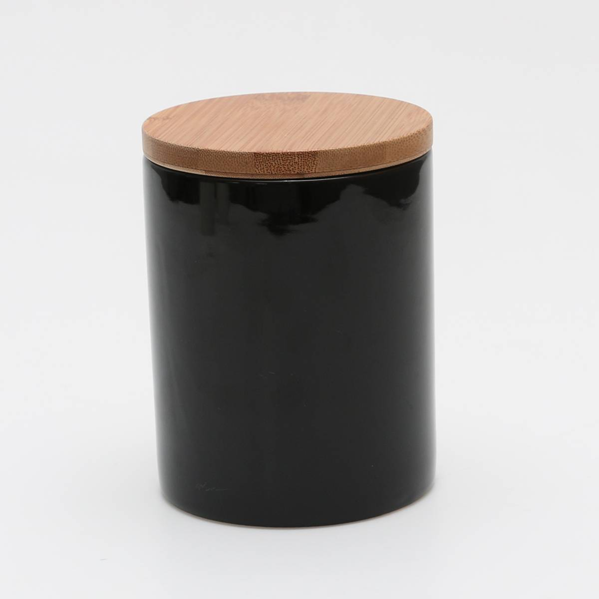 Pote Bamboo Preto com Tampa - 700 ml - em Porcelana - Bon Gourmet - 12x10 cm