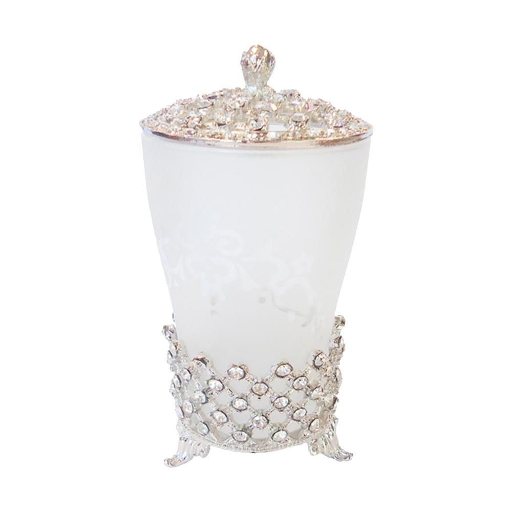 Pote Porta Trecos Elegance para Banheiro com Pedrarias Prateado/Branco em Metal - 12x8 cm