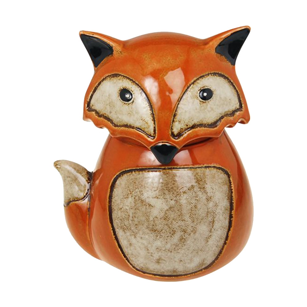 Pote Raposa Laranja Pequeno em Cerâmica - 28x26 cm