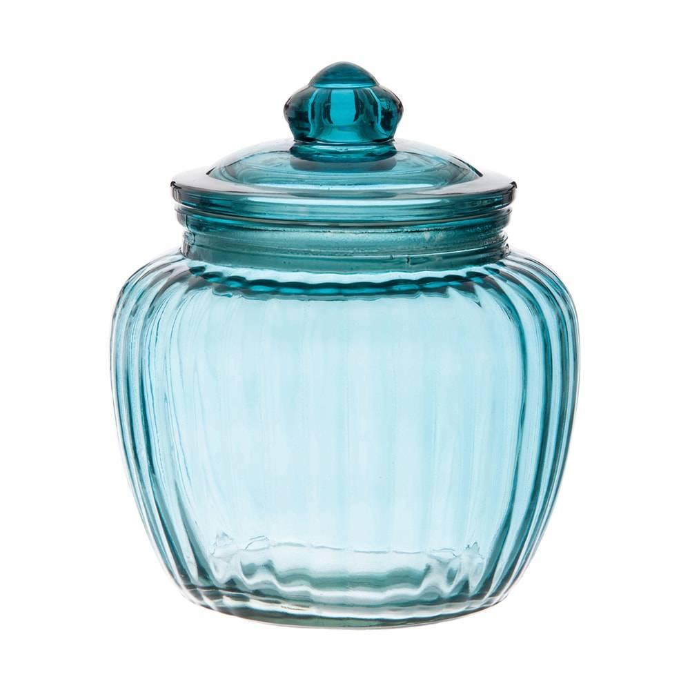 Pote Ribbed Azul Grande em Vidro - 18x15 cm