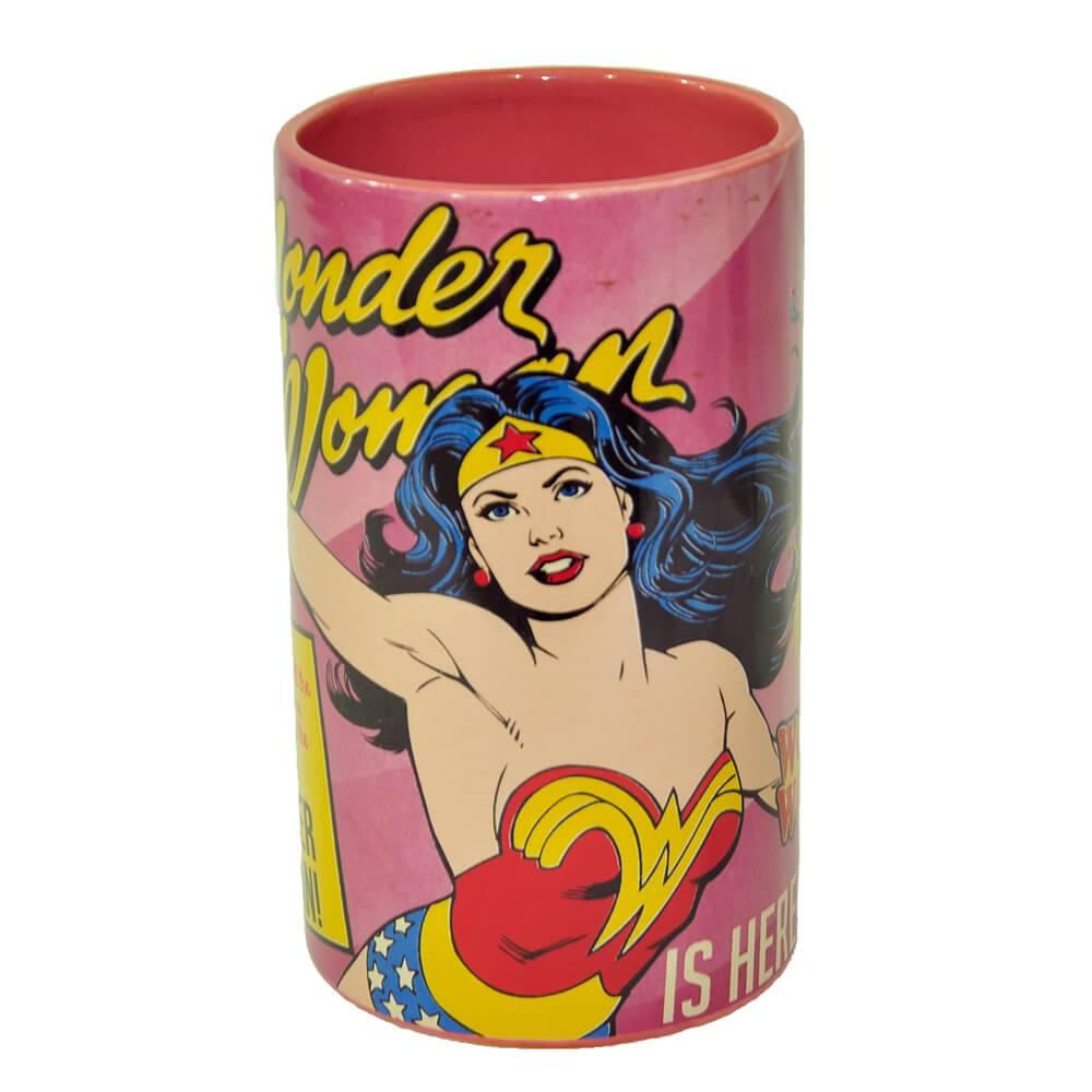 Pote sem Tampa DC Comics Wonder Woman Cover Page Rosa em Cerâmica - Urban - 17x10 cm
