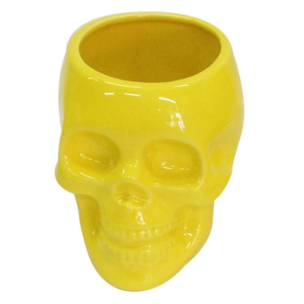Pote sem Tampa Skull Amarelo Brilhante Médio em Cerâmica - Urban - 13x12,5 cm