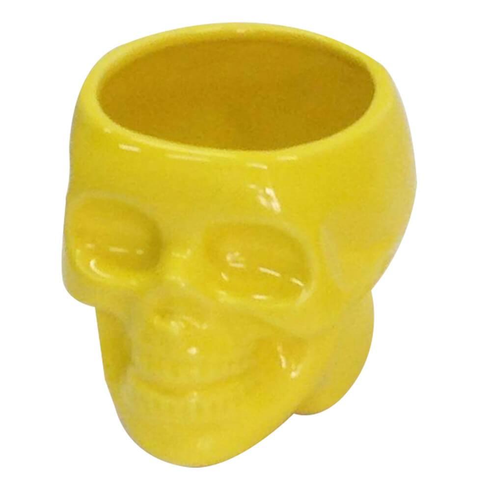 Pote sem Tampa Skull Amarelo Brilhante Pequeno em Cerâmica - Urban - 10,8x10 cm