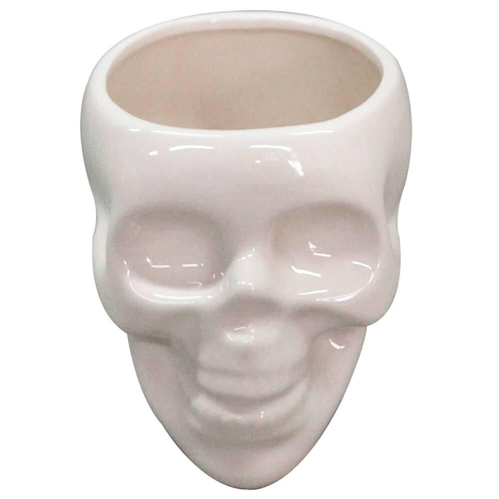Pote sem Tampa Skull Branco Brilhante Grande em Cerâmica - Urban - 20x18 cm