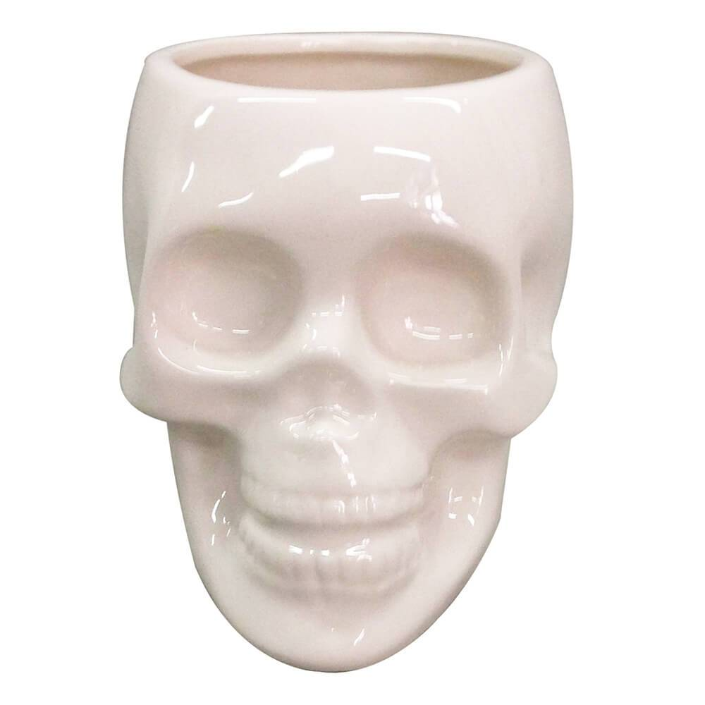 Pote sem Tampa Skull Branco Brilhante Médio em Cerâmica - Urban - 13x10 cm