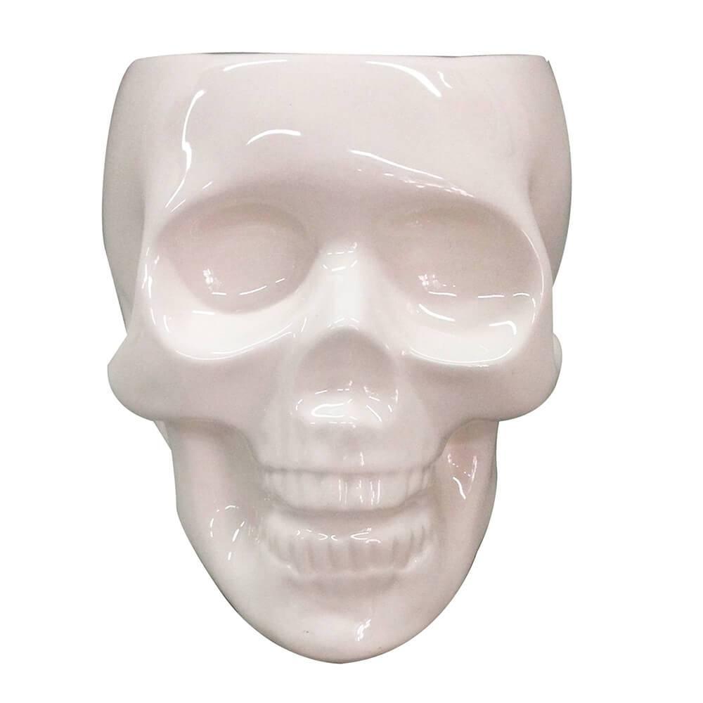 Pote sem Tampa Skull Branco Brilhante Pequeno em Cerâmica - Urban - 10,8x10 cm