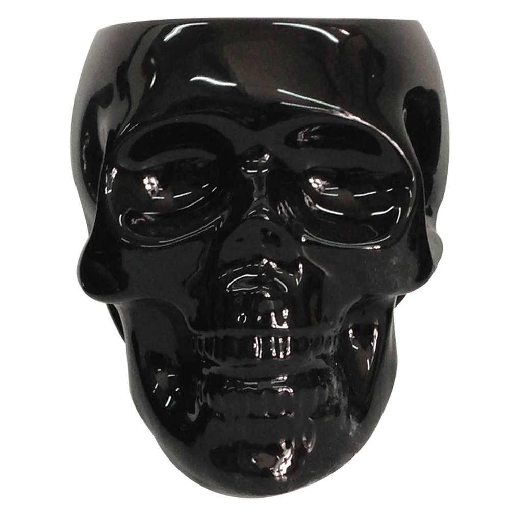 Pote sem Tampa Skull Preto Brilhante Grande em Cerâmica - Urban - 22x20 cm