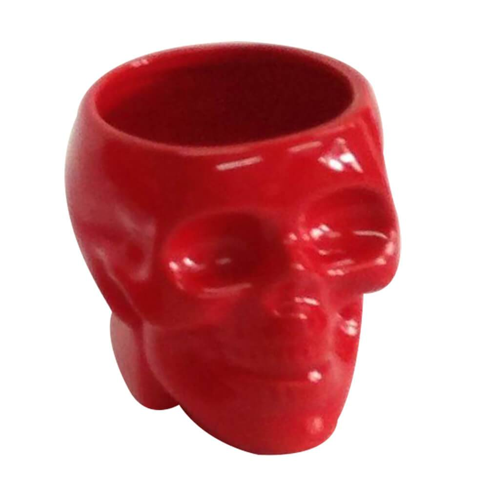 Pote sem Tampa Skull Vermelho Brilhante Pequeno em Cerâmica - Urban - 10,8x10 cm