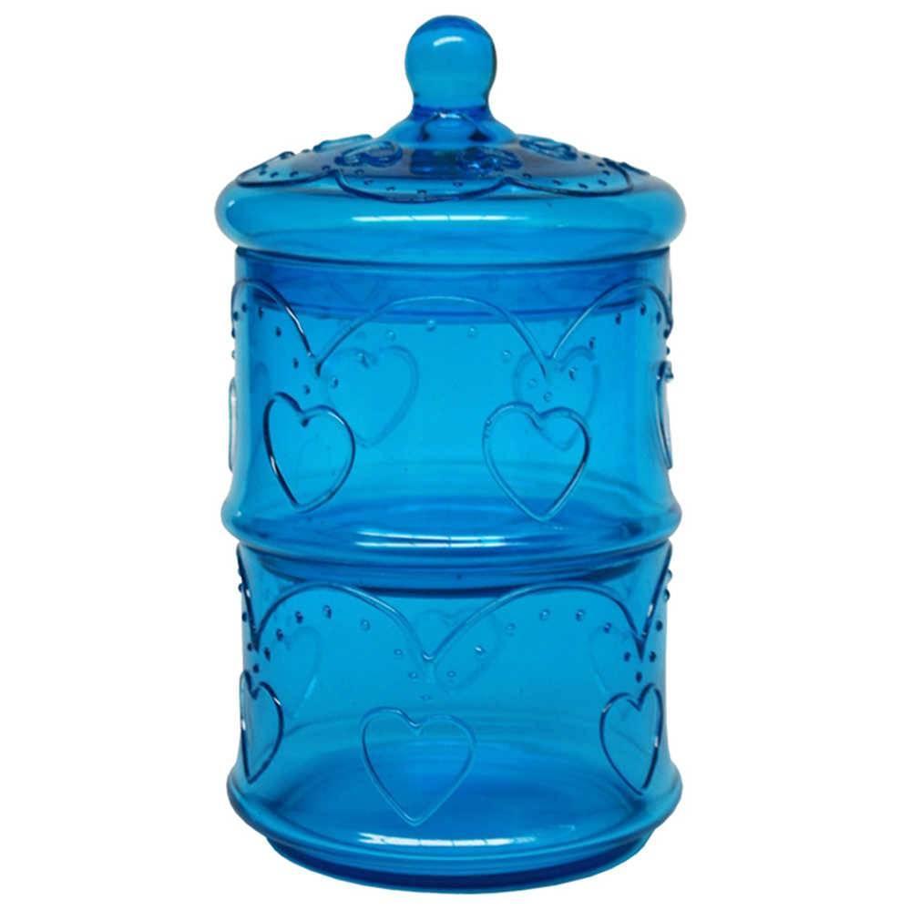 Pote com Tampa Hart Doble Azul em Vidro - Urban - 22,5x13 cm