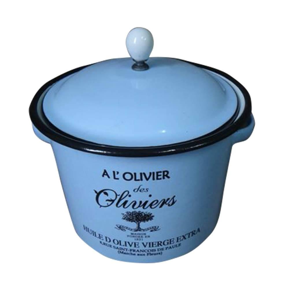Pote com Tampa Olivier Azul em Metal Esmaltado - Urban - 18x14 cm