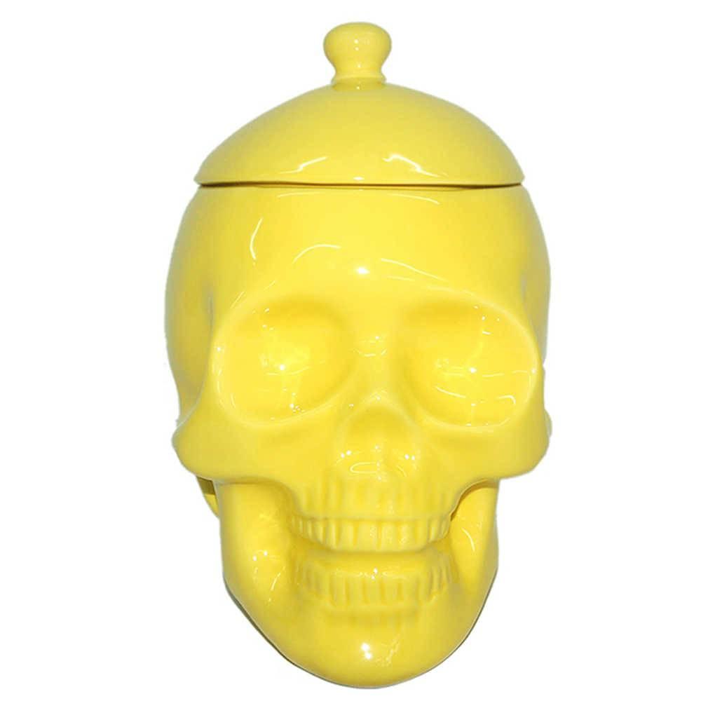 Pote com Tampa Skull Amarelo Brilhante em Cerâmica - Urban - 22x20 cm