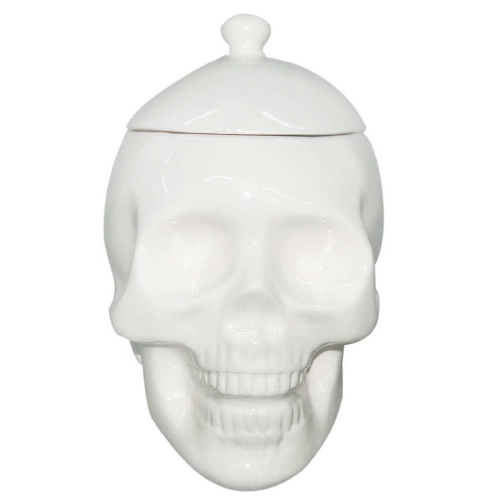 Pote com Tampa Skull Branco Brilhante em Cerâmica - Urban - 20x15,3 cm