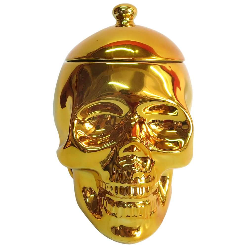 Pote com Tampa Skull Dourado em Cerâmica - Urban - 21,5x20 cm