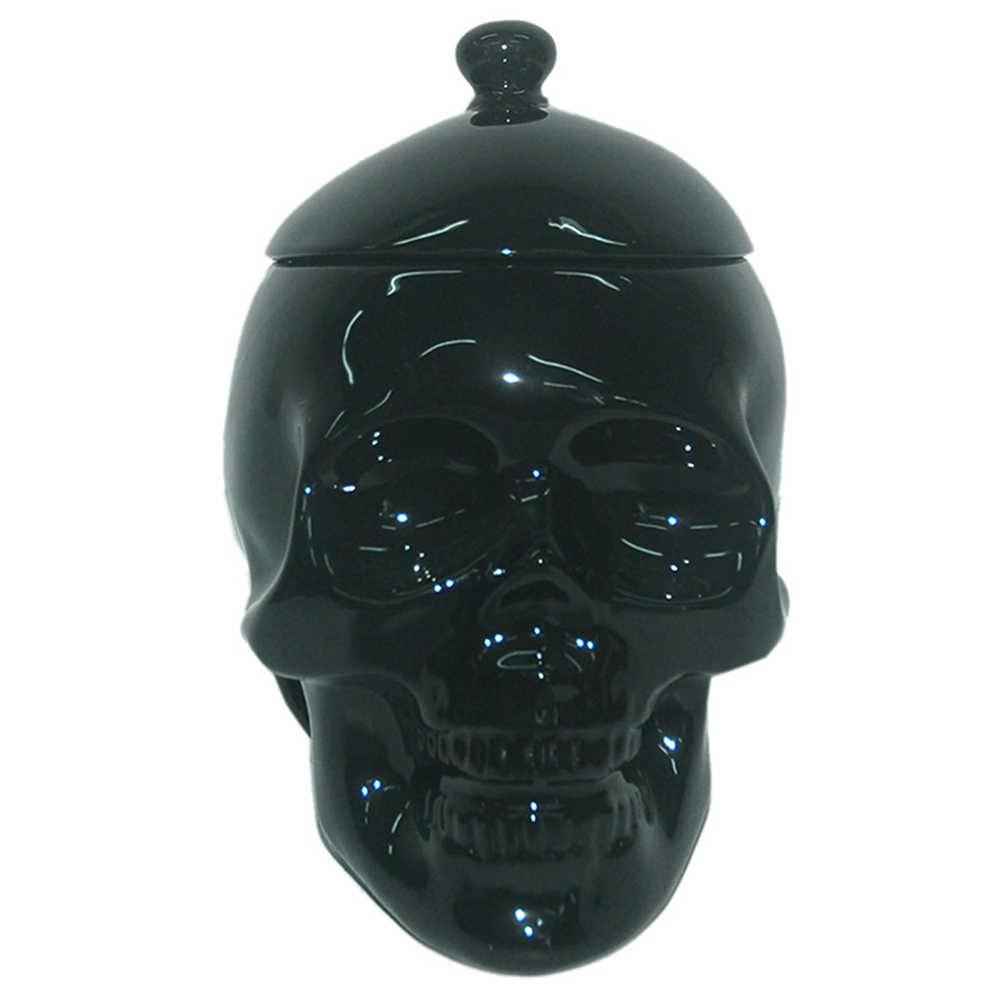 Pote com Tampa Skull Preto Brilhante em Cerâmica - Urban - 21x20 cm