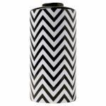 Pote Zig Zag Black White Grande em Cerâmica - 23x15 cm