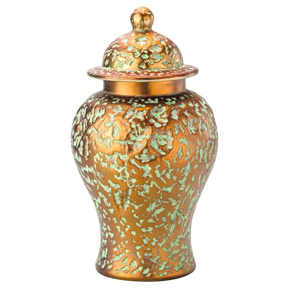 Potiche Antique Dourado em Cerâmica c/ Tampa - Lyor Classic - 41x26 cm