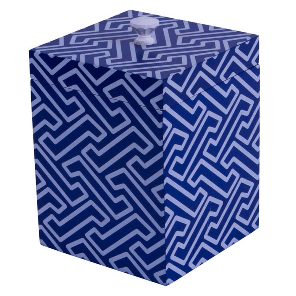 Potiche Chic Estampado Azul c/ Tampa em Vidro e Metal - 14x12 cm