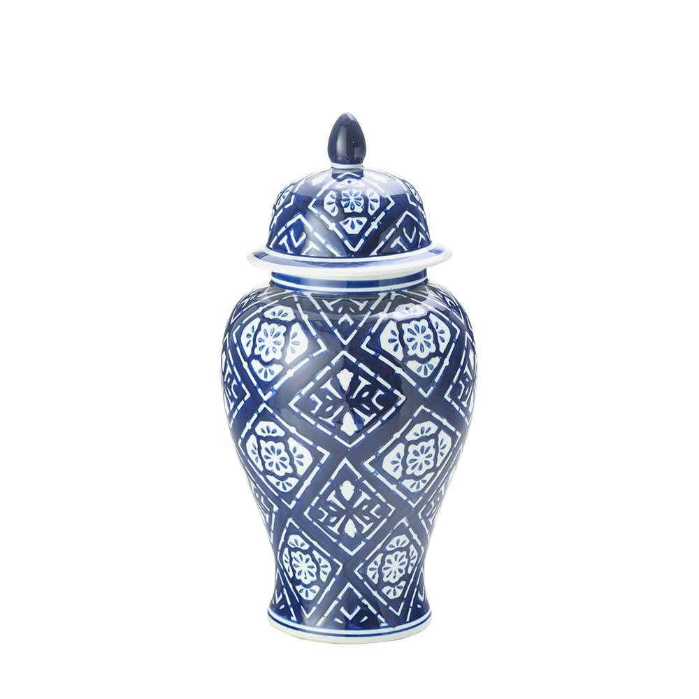 Potiche Ginger Blue em Cerâmica - Lyor Classic - 50,324,9 cm