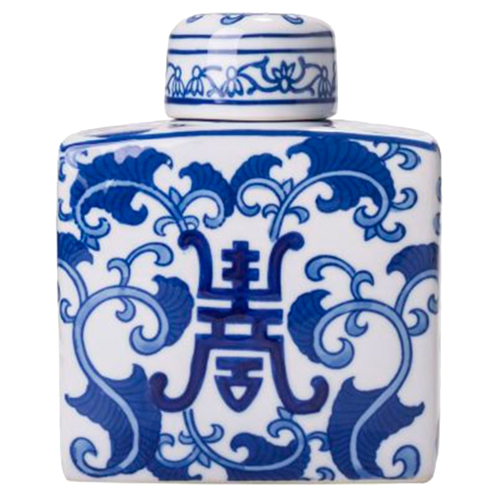 Potiche Lady Azul/Branco Neesy em Porcelana - 15x13 cm