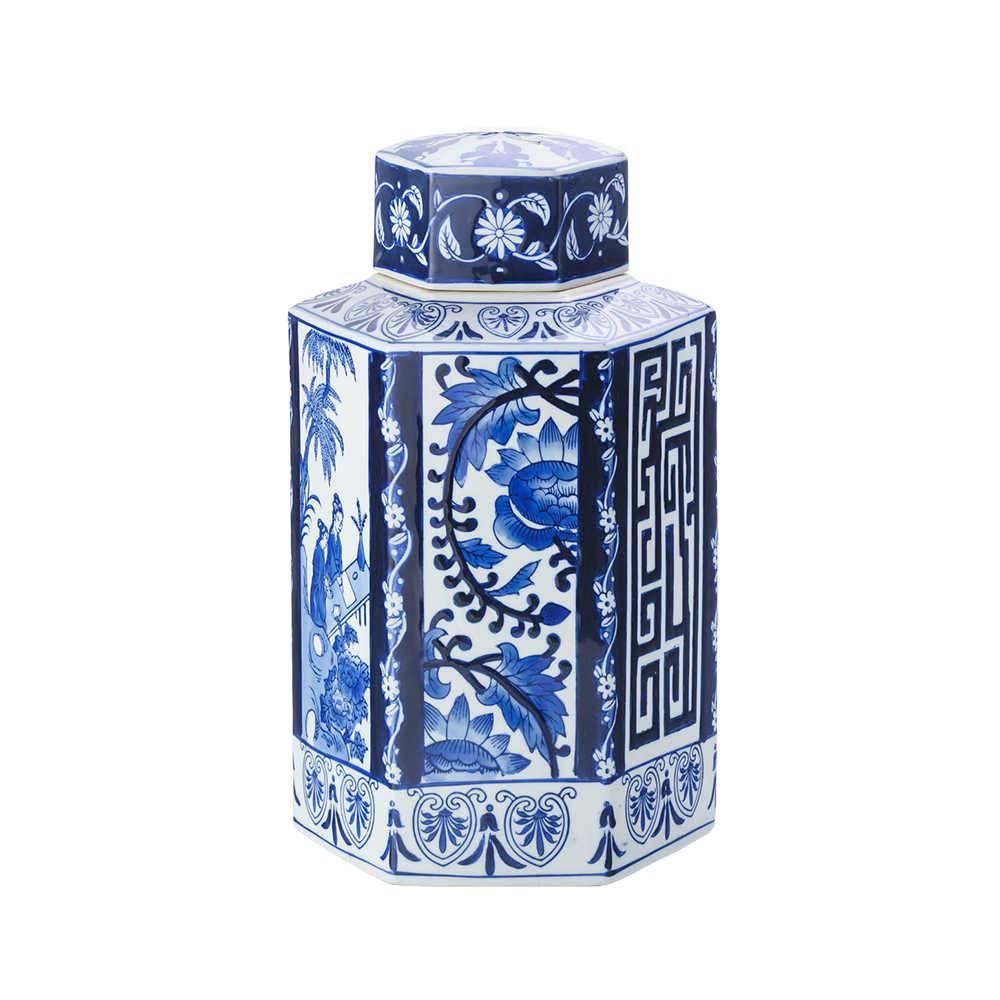 Potiche Lady em Cerâmica Azul e Branco - Lyor Classic - 40,6x22,9 cm
