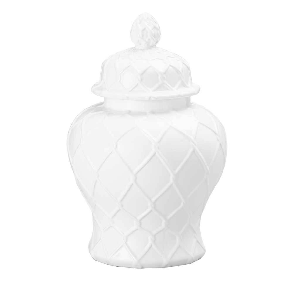 Potiche Losan Branco em Cerâmica - Lyor Classic - 30,5x25 cm