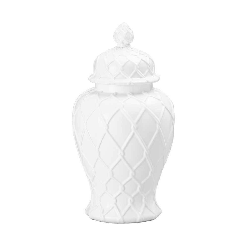 Potiche Losan Branco em Cerâmica - Lyor Classic - 36,2x25 cm