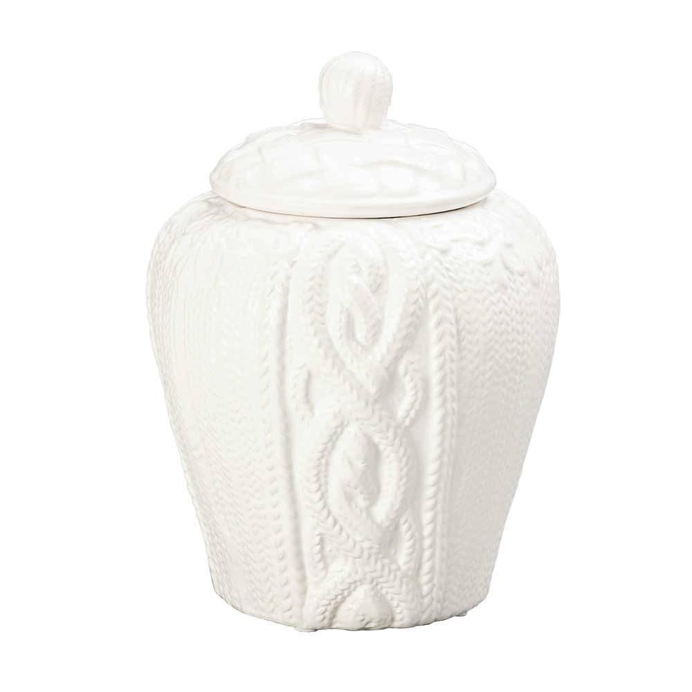 Potiche String Branco em Cerâmica - Lyor Classic - 20,5x16 cm