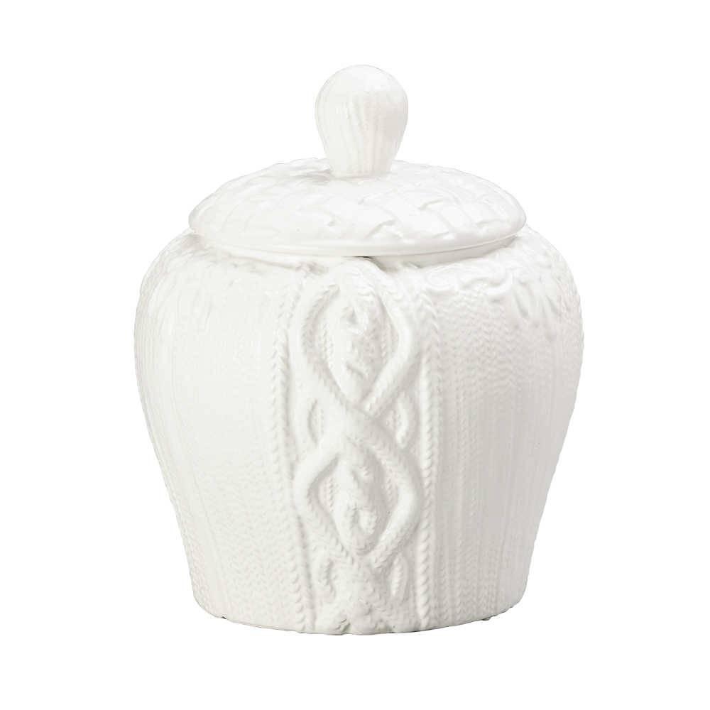 Potiche String Branco em Cerâmica - Lyor Classic - 25,5x21,5 cm