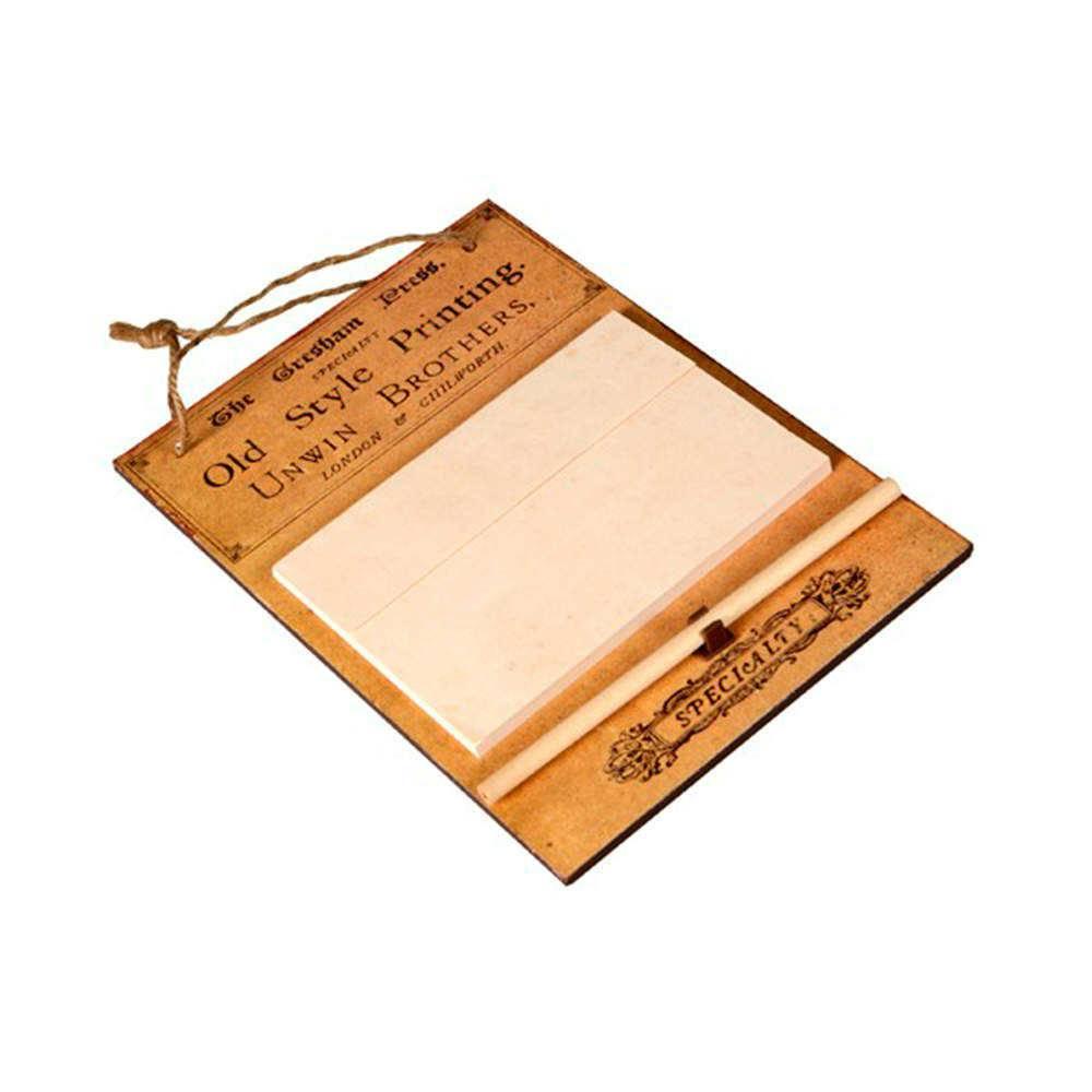 Prancheta com Bloco de Notas Specialty em Madeira - 25x18 cm